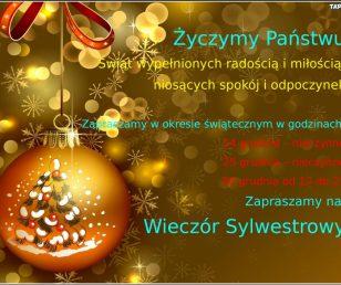 Życzenia Świąteczne oraz dostępność w okresie świątecznym :)